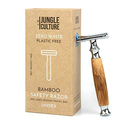 Jungle Culture® Rasierhobel mit Bambusgriff für Damen & Herren | Premium Nassrasierer, Umweltfreundlich Sicherheitsrasierer | Plastikfreier Rasierer, Zero Waste Safety Razor | Natürlichem Reisebeutel