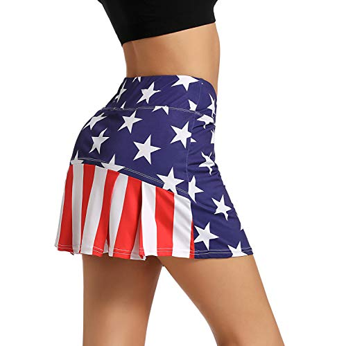Ibeauti Womens Back Pleated Athletic Tennis Golf Skorts Skirts with 3 Pockets Mesh Shorts for Running Active Workout (USA Flag, Large)