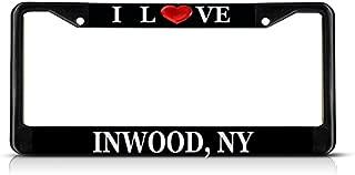 Sign Destination Metal Insert License Plate Frame I Love Heart Inwood, Ny Weatherproof Car Accessories Black 2 Holes Solid Insert 1 Frame