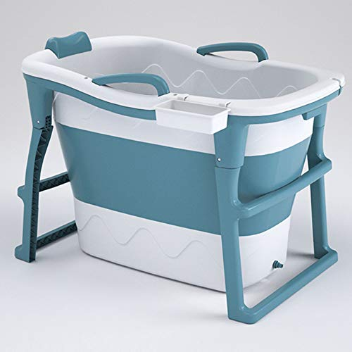 Bañera para Adultos Bañera Plegable portátil, Bandeja de Ducha Plegable de la bañera Grande de la casa, Drenaje Doble Antideslizante Resistente al Desgaste, natación portátil,Azul