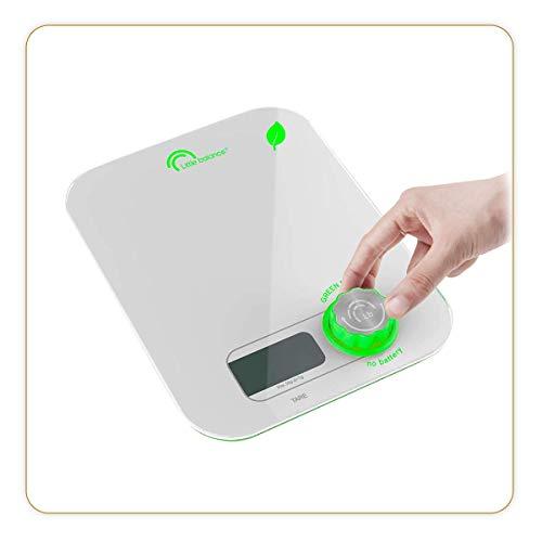 LITTLE BALANCE 8198 Kinetic Flower Blanc - Balance de cuisine sans pile - Ecologique grâce à son bouton Little Balance - 5 kg / 1 g