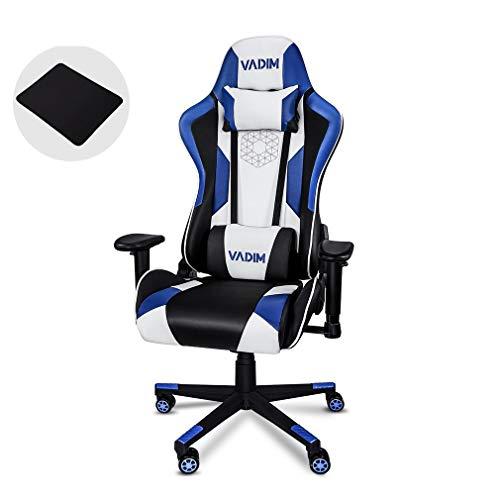 VADIM Sillas Gaming Ergonomica Azul, Racing Silla de Escritorio de Oficina Gamer Regulable, Silla Giratoria de Oficina con Reposacabeza Apoyo y Cojin Lumbar