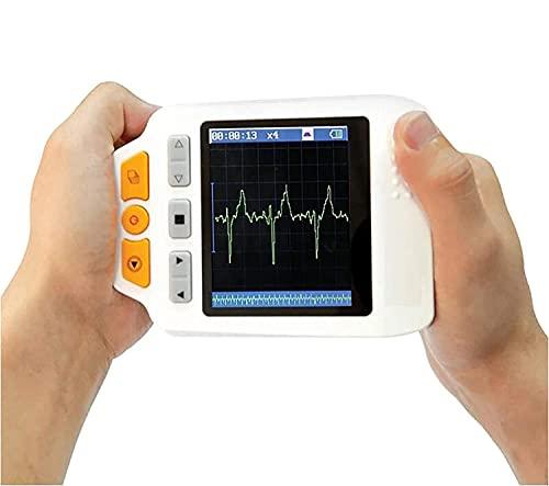 GKPLY Monitor de ECG portátil de Mano fácil, electrocardiograma de transmisión de Voz Detector de ECG de dinámica cardíaca LCD portátil Monitoreo de frecuencia cardíaca Las 24 Horas en casa
