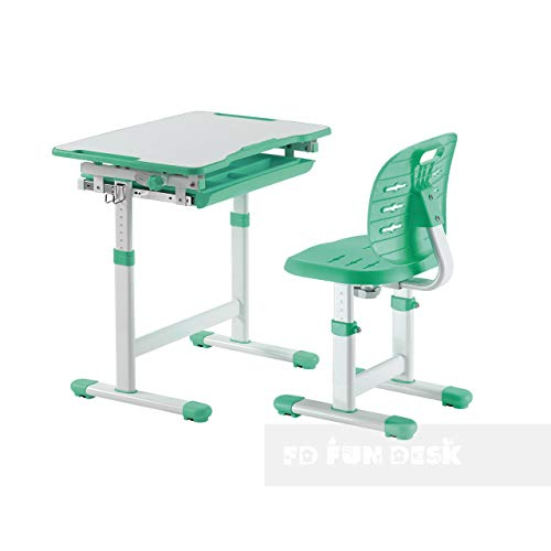 FD FUN DESK Piccolino III Green Schülerschreibtisch höhenverstellbar, Schreibtisch neigungsverstellbar, Kinderschreibtisch mit Stuhl, Grün, 664x474x540-760 mm