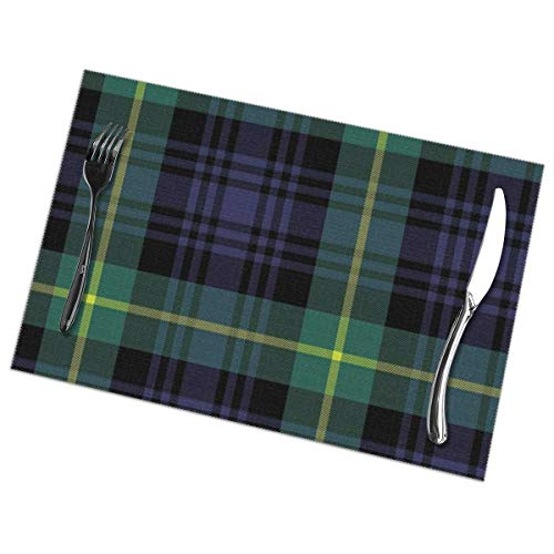 Placemats Set of 6,Irish Blue Gordon Tartan Plaid Pattern Flat Green Abstract Black Cashere Celtic Check Patterning Heat-Resistant Placemats Washable Table Mats for Kitchen Dining Table 12X18 Inch