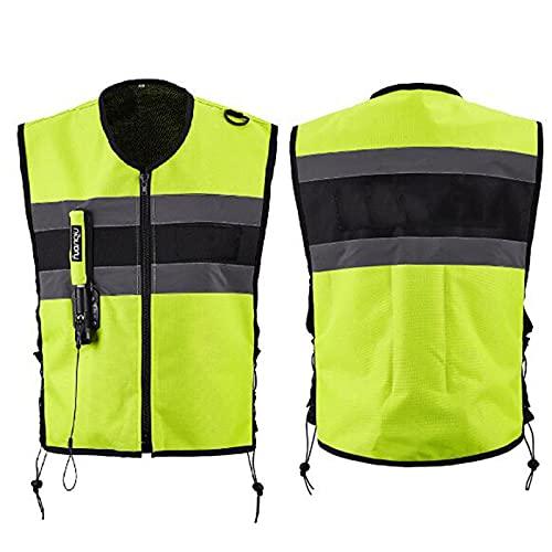 Chnzyr Motorradweste Mit Airbag Hat EIN Großes Reflektierendes Design, CO2-Airbag-Auslösesystem, Schnelles Aufblasen, Hohen Sicherheitsfaktor, 600D Dickes Material, Stark Und Langlebig,Gelb,XL