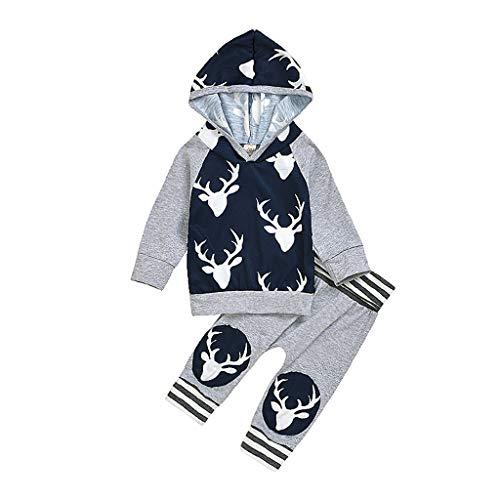 JiaMeng 3-18 Jahre Madchen Jungen Weihnachten Kapuze Sweatshirt Lange Ärmel Rentier Drucken Sweatshirt und Lange Hosen Anzug