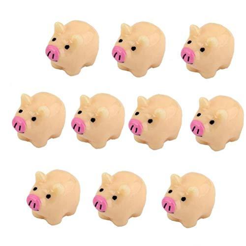 Nicetruc 10 Pcs Artificielle Miniature Mignon De Porc Résine Artisanat Bonsai Paysage Ornements Jardin Décoration 2x1.6cm Beige