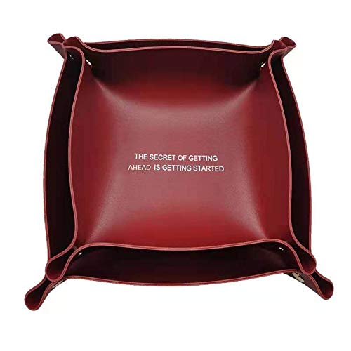 Dos cajas de almacenamiento plegables de cuero rojo, almacenamiento de llaves, almacenamiento de sofá de escritorio pequeñas cosas
