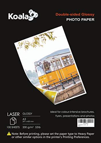 KOALA Carta fotografica Lucida Fronte-Retro per stampante LASER, A3, 200 g/m², 100 fogli. Adatto per la stampa di Foto, Brochure, Certificati, Opuscoli, Volantini, Biglietti, Calendari, Copertine