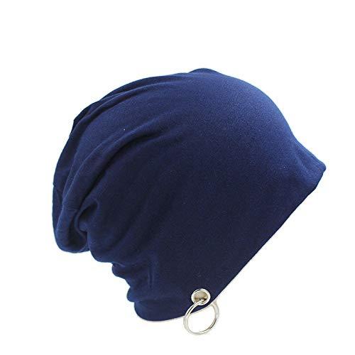 Bonnet Unisexe Chapeau tricoté Homme Beanie Hats,Mode Hommes Femmes Automne Bonnet avec AnneauUn Chapeau Unisex pour Femmes Casquettes Marque Bonnet @ Blue