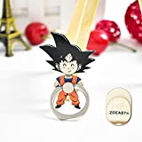 ZOEAST(TM) Phone Ring Grip Super Hero Son Goku Dragon Ball Universal 360° Adjustable Holder Car Hook Stand Mount Kickstand Compatible with All iPhones Samsung Galaxy Android Pad Tablet (Black Goku)