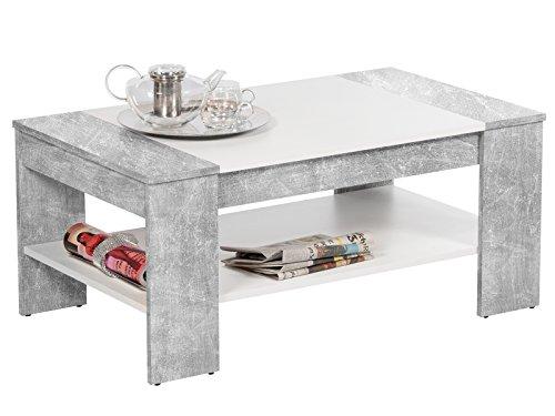 möbelando Couchtisch Wohnzimmertisch Sofatisch Beistelltisch Kaffeetisch Tisch Ariela I Beton/Weiß
