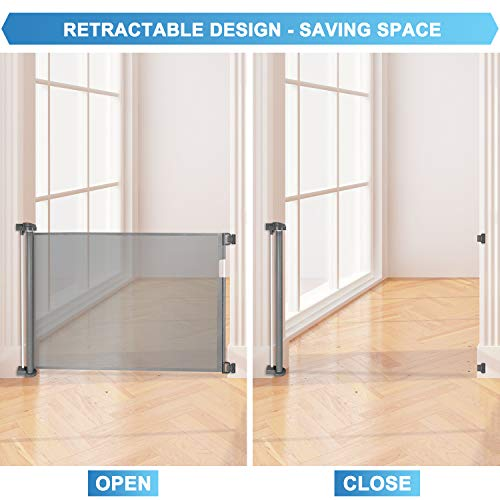 """Retractable Baby Gate Extra Wide 68"""" Space Efficient Mesh Design Pet Gate with 2 Sets of Mounting Hardware Indoor and Outdoor Baby Gate for Doorways, Stairs, Hallways, Banisters and More"""