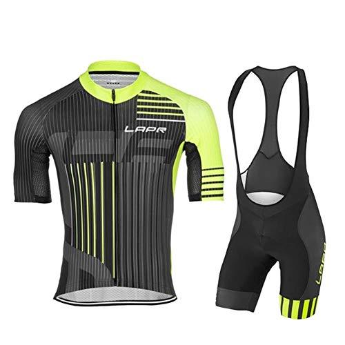 d.Stil Tuta da Ciclismo da Uomo A Maniche Corte Pantaloncini Estivi con Cuscino per Maglia da Ciclismo MTB + Salopette da Ciclismo (Nero-Verde, XL)