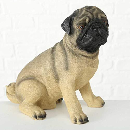 Objektkult Deko Figur Mops, 19 cm sitzend, originelle lebensecht gestaltete Mops-Skulptur, tolles Geschenk für Mops-Liebhaber, Hunde-Statue aus Kunstharz