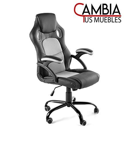CAMBIA TUS MUEBLES - Silla Gaming X-One sillon Giratorio de Oficina despacho Escritorio, en Negro Rojo Azul y Gris (Gris)
