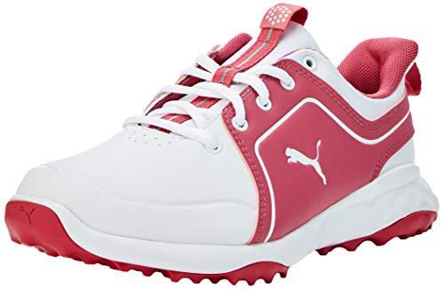 PUMA Grip Fusion 2.0 JRS, Zapatos de Golf para Niños, Blanco White/Rapture Rose, 39 EU