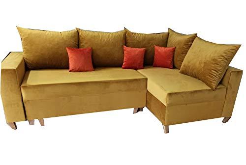 PM Ecksofa Schlaffunktion Bettfunktion Couch L-Form Polstergarnitur Wohnlandschaft Polstersofa mit Ottomane Couchgranitur - Riviera (Gold, Ecksofa Rechts)