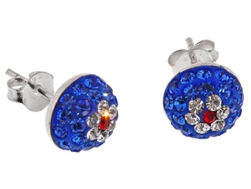 Par de discreto 8 mm de plata de ley de Shamballa de la flor de cristal Swarovski Pendientes del perno prisionero del blanco azul rojo