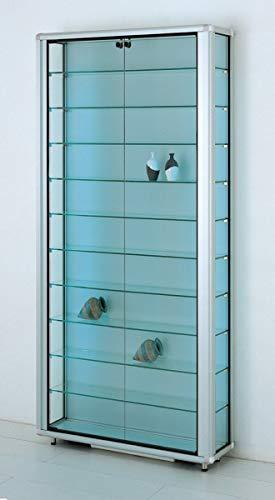 MHN Vitrina de pared de cristal ancha con cierre, iluminada y protegida contra el polvo, 20 cm de profundidad, 2 x 40 W