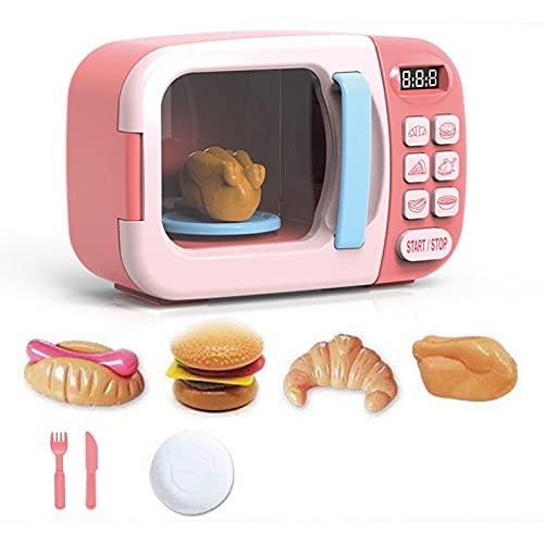 PPuujia Juguetes de cocina para niños Juguetes de cocina Simulación Horno Microondas Juguetes educativos Mini Cocina Alimentos Fingir Juego de Corte de Papel Jugar Juguetes Niñas (Color: Rosa 8pcs)