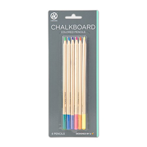 U Brands Chalkboard Colored Pencils, Assorted Colors, 6-Count