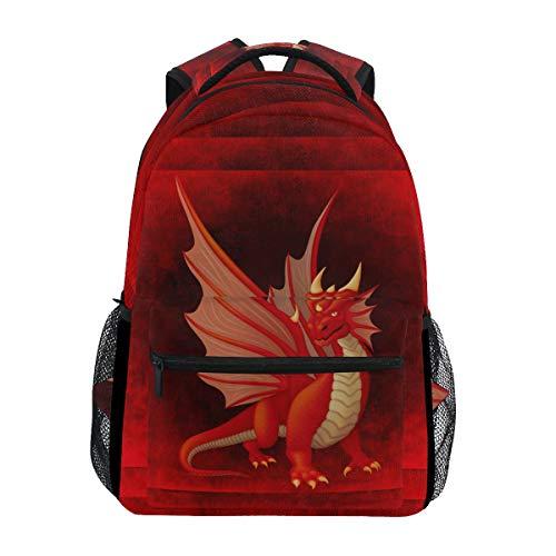 Dragón Rojo Enojado Mochila de Estudiantes Hombro Mochilas para Viajes Escolar Niños Niñas