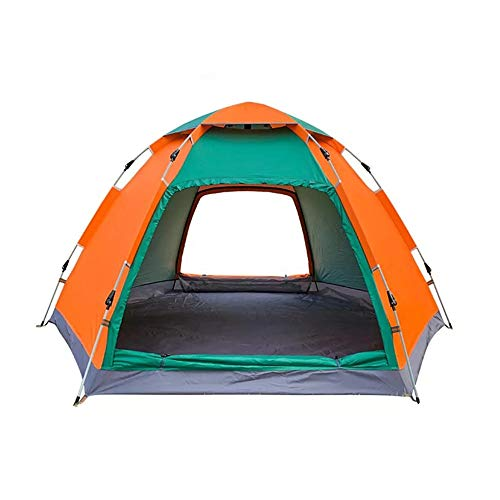 PN-Braes Family Tent 3-4 People Outdoor Camping Tent Automatic Instant Pop Up Waterproof Sunshade Canopy UV Rain Waterproof Tent Pop-Up Tents (Color : Drak green+Orange, Size : 240 x 240 x 150cm)