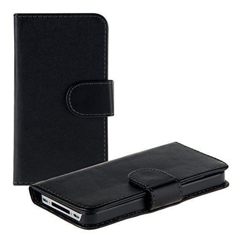 kwmobile Wallet Case Hülle kompatibel mit Apple iPhone 4 / 4S - Cover Flip Tasche mit Kartenfach in Schwarz