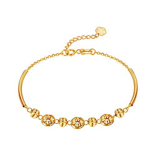 KnSam 18K Oro Amarillo Pulsera, Brazalete Hueco Flor, Color Oro, Regalo para Amantes, Amarillo Oro