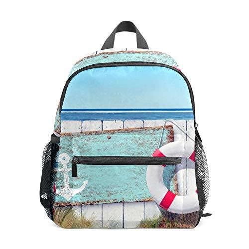 Backpack Student Bookbag for Kids Girls Boys,Wooden Beach Casual Daypack School Travel Bag Organizer Gift