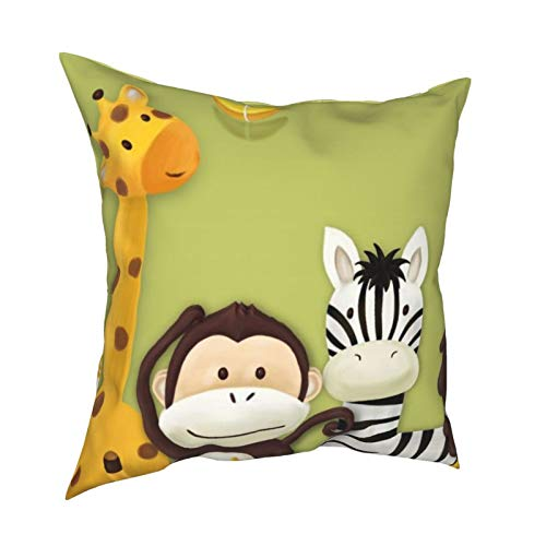 iksrgfvb Pillow Case Cushion Covers Cartoon Animals Kids Bed Room Backgrounds Square Pillowcases for Living Room Sofa 18 x 18 inch