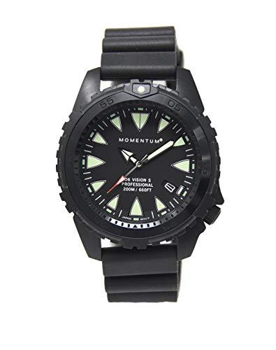 Momentum, orologio da uomo per sport acquatici, D6 Vision Sharktooth con zaffiro nero agli ioni di zaffiro di Momentum, in acciaio inox, con movimento giapponese fino a 200 m, colore nero, 1M-DN66BS1B
