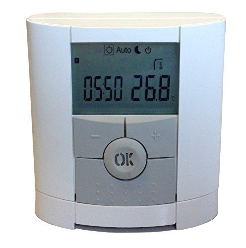 Fenix 4500410 Thermostat/Funkthermostat Watts V 22, drahtloses Raumthermostat mit Wochenprogramm, Wandmontage oder Standbetrieb über Tischhalter programmierbar, Batterie-/Akkubetrieb (2 x AAA)