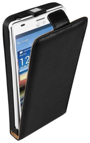mumbi Echt Leder Flip Case kompatibel mit LG Optimus 4X HD Hülle Leder Tasche Case Wallet, schwarz