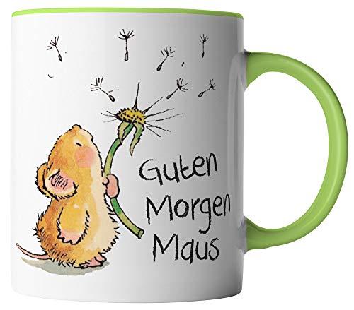 vanVerden Tasse - Guten Morgen Maus - beidseitig Bedruckt - Geschenk Idee Kaffeetasse mit Spruch, Tassenfarbe:Weiß/Grün
