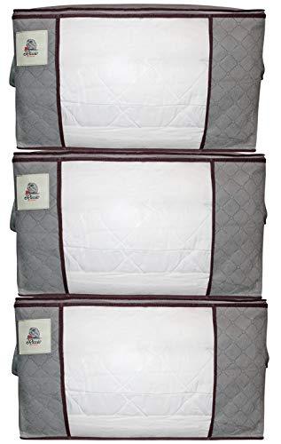 RICCIO Under Bed Storage Organiser 3Pcs Grey - Underbed Storage Bags Serves as Under Cot Storage or Under the Bed Storage Boxes/Clothes Storage Boxes. A Clothes Storage System aka Bedding Storage
