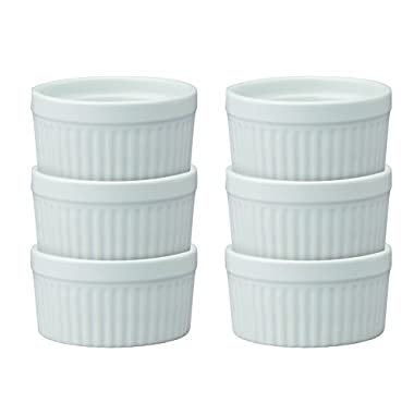 HIC Ramekins, Fine White Porcelain Souffle, 4-Inch, 8-Ounce Capacity, Set of 6