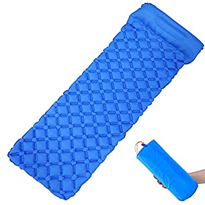 Wolf Walker Camping Sleeping Pad with Pillow, Inflatable Camping Mat for Backpacking, Hiking Air Mattress - Lightweight, Compact, Camp Sleep Pad, Royal Blue