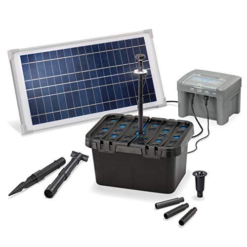 Solar Teichfilter Set Profi bis 1.000 l Teich - 500 l/h Förderleistung 15 Watt Solarmodul - neuester 12 V/7 Ah proBatt Akkuspeicher mit LED Licht - Gartenteich Filter Komplettset, esotec 101058