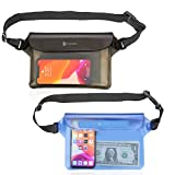 Syncwire Waterproof Pouch Bag with Adjustable Waist Strap (2 Pack) - IP68 Waterproof Waist Bag Screen Touchable Dry Bag with Adjustable Belt for Beach, Swimming, Boating, Fishing, Hiking, etc