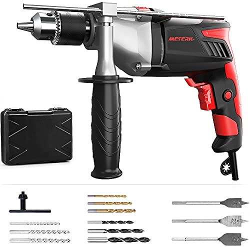 Meterk Hammer Drill 7.5-Amp 1/2inch Impact Drill 2800RPM 950W Corded Compact Electric Drill Tool - 17 Variable Speed with 12pcs Drill Bit Sets/Storage Case/Rotating Handle
