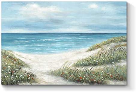 TAR TAR STUDIO Coastal Beach Canvas Picture Art Blue Seaside Artwork Abstract Seascape Hand product image
