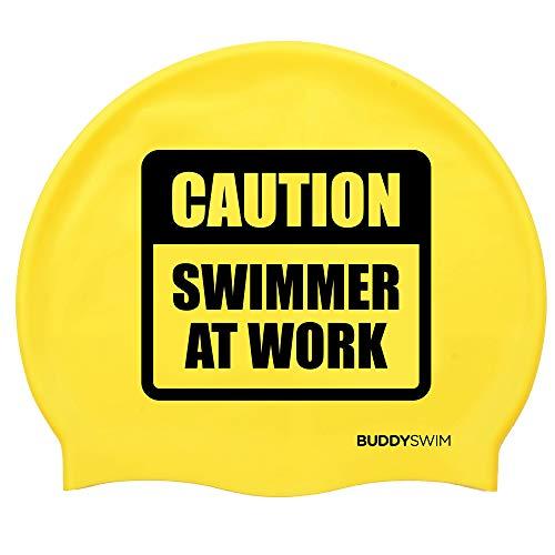 BUDDYSWIM - Badekappe für Männer und Frauen. Bequeme und widerstandsfähige Silikon-Schwimmbadekappe für das Schwimmbad oder auch Freiwasserschwimmen geeignet. Farbe Gelbe.