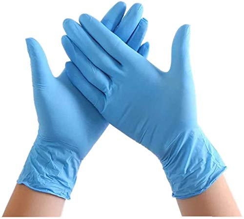 100PCS Disposable Nitrile Vinyl Gloves, Latex Free, Powder Free, Non-Sterile, Healthcare, Food Handling Use (Large, Blue #1)