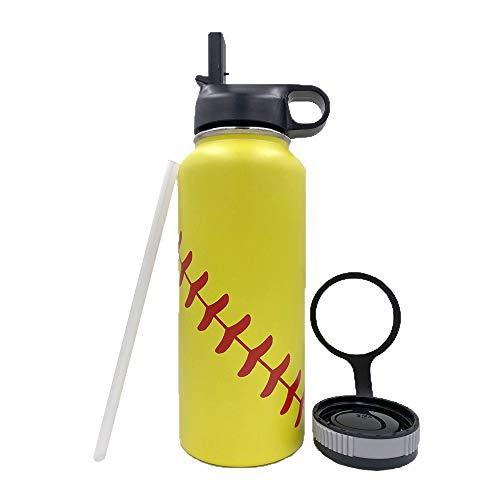 Gloryc Baseball-Becher mit breiter Öffnung und zwei Deckeln, 18/8 Edelstahl, vakuumisoliert, Reisebecher für Trainer, Männer, Mutter, Freunde (gelb)