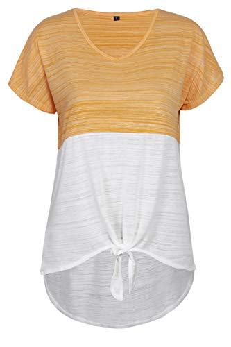 SLYZ Camiseta De Manga Corta De Mujer Suelta Informal Irregular con Contraste De Empalme De Estilo Nuevo De Verano para Mujer