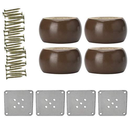 YeVhear - Conjunto de 4 patas redondas de madera maciza para sofá o cama, escritorio, mueble de patas de repuesto para muebles de cama, color rojo