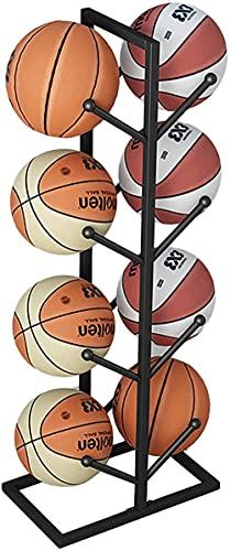 Kikioo Estante de Pelota Soporte, Garaje Estante de Almacenamiento de Pelotas 8 Pelotas de Baloncesto, Estantes de Exhibición, Organizador Vertical, para Baloncesto, Fútbol, Equipo de Fitness de Bola